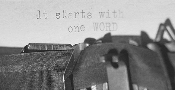 Photo of words written using typewriter